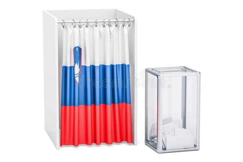 Concept slovène d'élection, urne et cabines de vote avec la Floride illustration stock