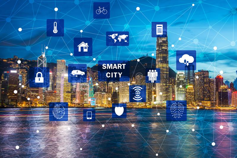 The concept of smart city and internet of things stock image