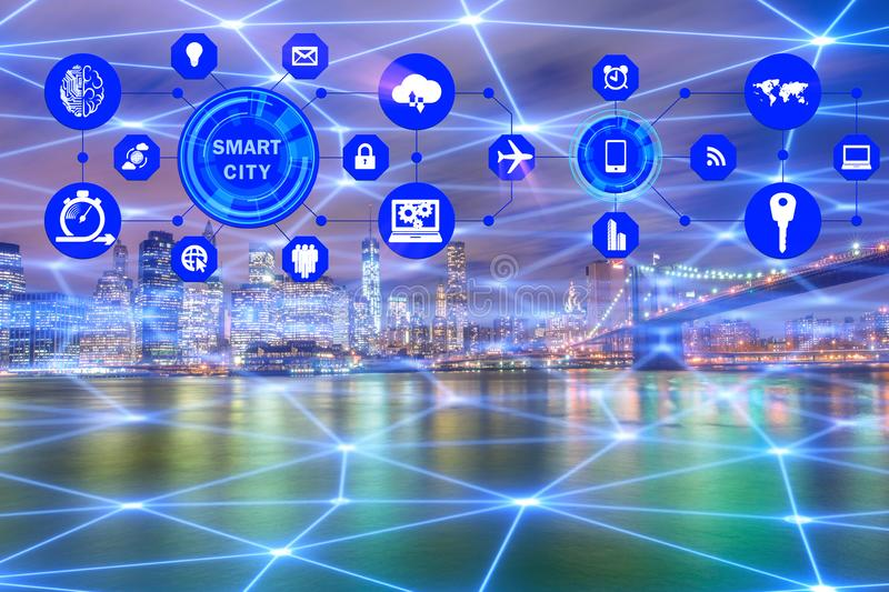 The concept of smart city and internet of things stock photo