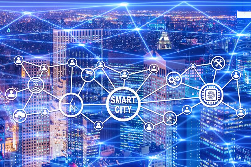 The concept of smart city and internet of things. Concept of smart city and internet of things royalty free illustration