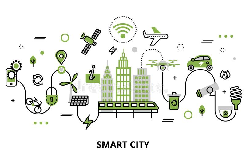 Concept of smart city, technologies of future. Modern flat line design, concept of smart city, technologies of future and urban innovations, for graphic and web royalty free illustration