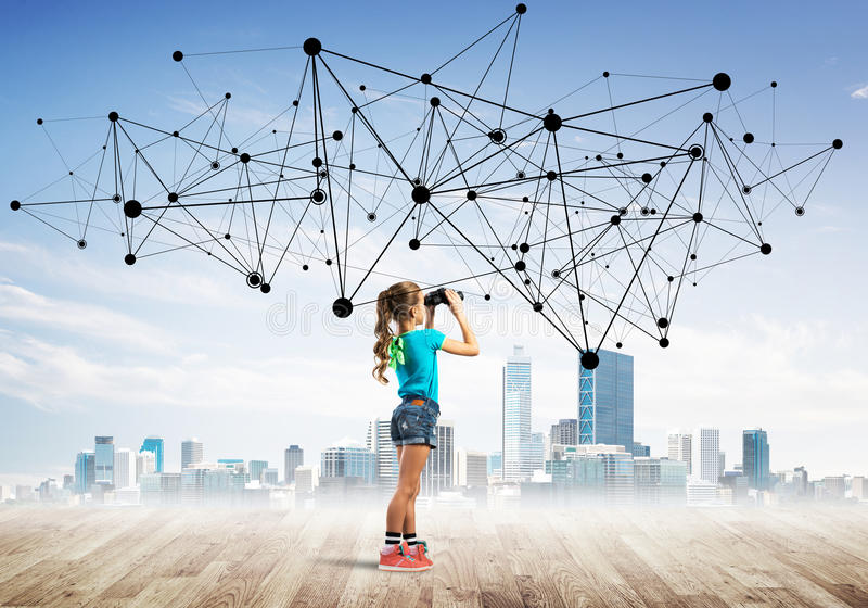 Concept sociaal draadloos verbinding en Internet-gebruik voor mededeling door kinderen royalty-vrije stock afbeeldingen