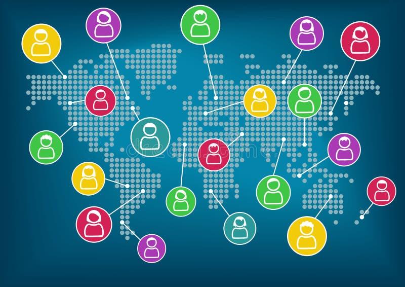 Concept sociaal netwerk Globale mededeling en samenwerking rond de wereld Het kan voor prestaties van het ontwerpwerk noodzakelij vector illustratie