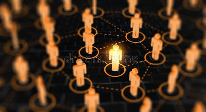 Concept social abstrait de réseau, figures humaines se reliantes image libre de droits