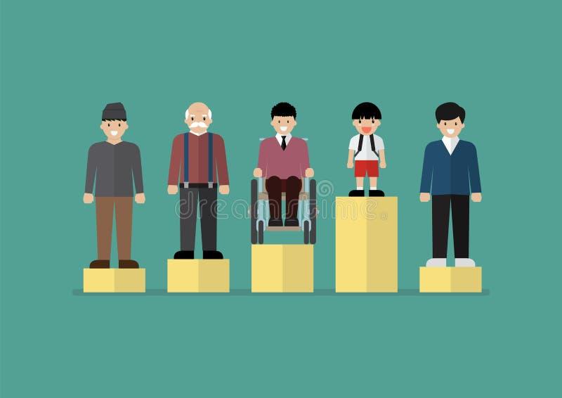 Concept social d'égalité de question illustration stock