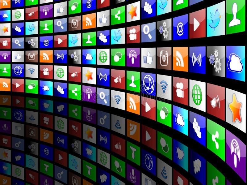 Concept social d'applis d'icônes de médias illustration libre de droits