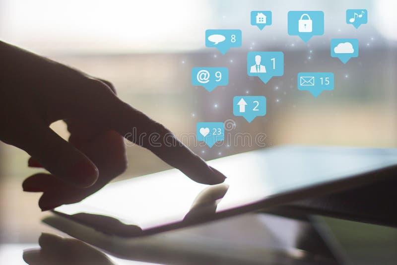 Concept social d'icônes de media photographie stock libre de droits