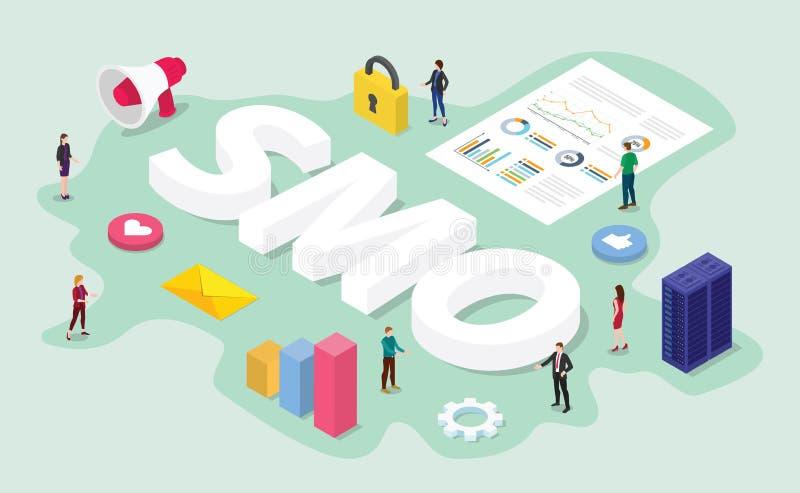 Concept social d'optimisation de médias de Smo avec l'équipe il travail numérique sur l'analyse de données commerciales avec le s illustration stock