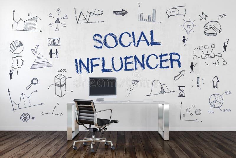 Concept social de bureau d'Influencer illustration libre de droits