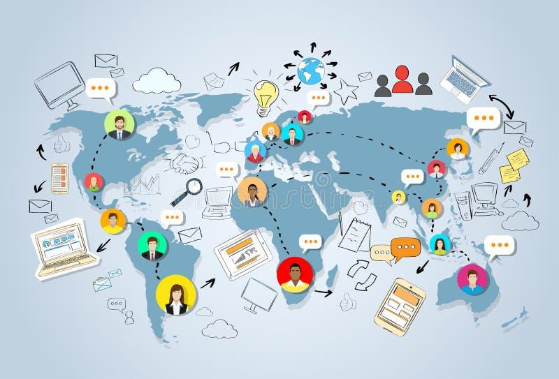 Concept social de carte du monde de Media Communication illustration de vecteur
