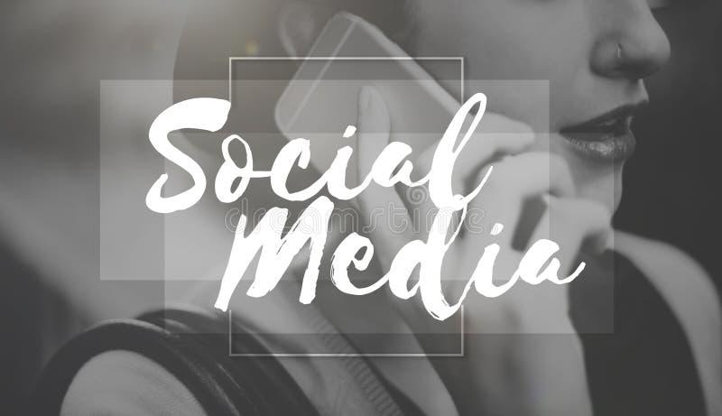 Concept social de causerie de mise en réseau de connexion de media photographie stock libre de droits