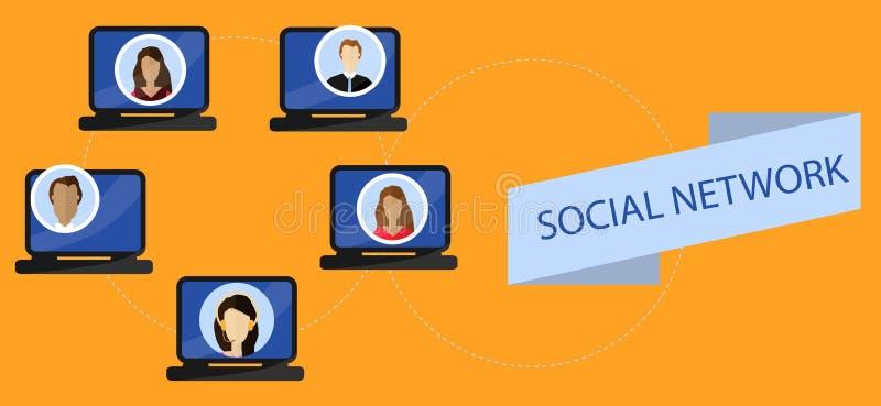 Concept social de communication d'Internet de qnd de réseaux Illustration plate illustration stock