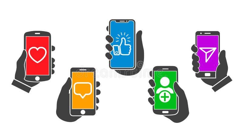Concept social de communication de médias, applications mobiles, mains réglées soulevant le smartphone – vecteur illustration de vecteur