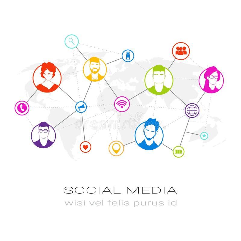 Concept social de connexion d'utilisateurs de communication de réseau d'icônes de profil de media de silhouette colorée de person illustration libre de droits
