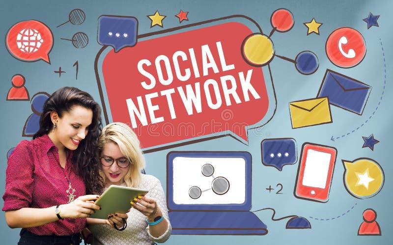 Concept social de connexion de Media Communication de réseau photos libres de droits