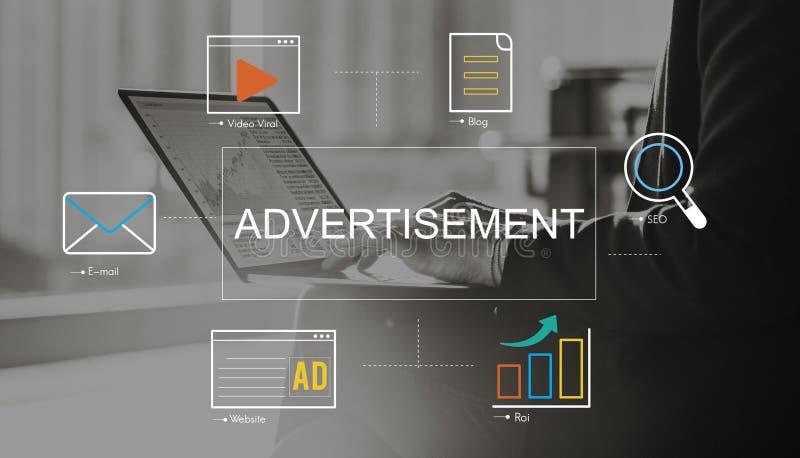 Concept social de connexion de publicité de media image libre de droits