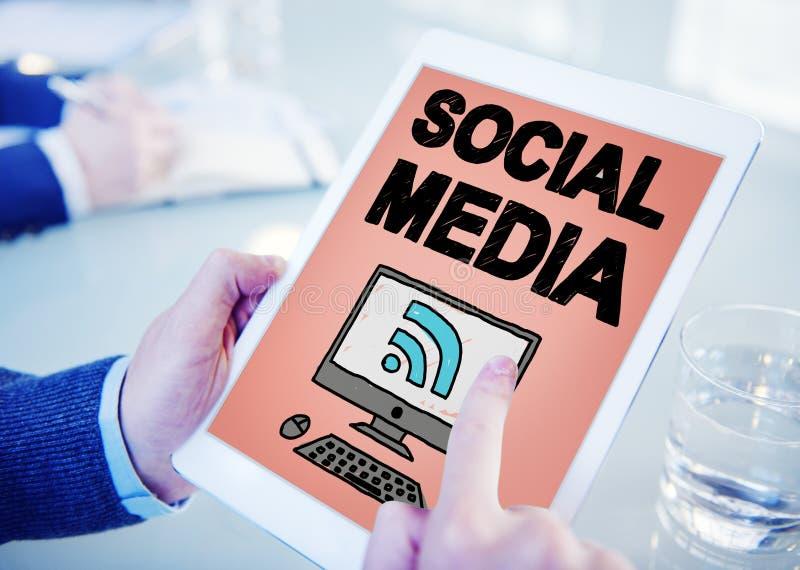 Concept social de connexion de technologie de mise en réseau de media social photo libre de droits