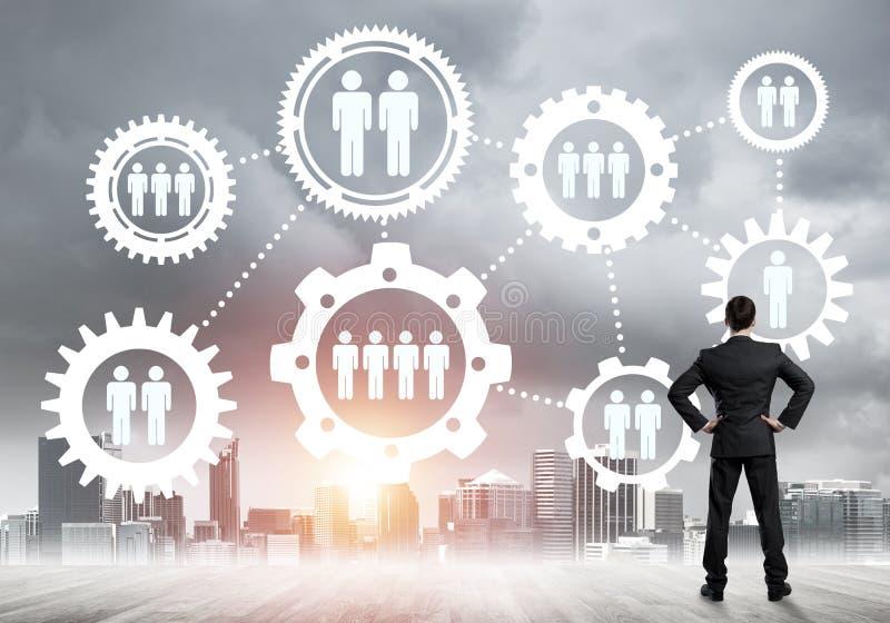 Concept social de connexion dessiné sur l'écran comme symbole pour le travail d'équipe et la coopération photographie stock libre de droits