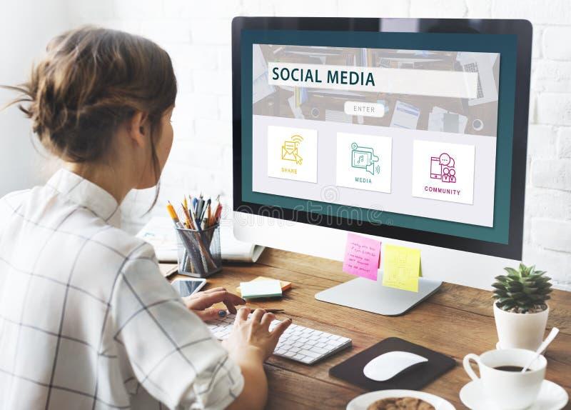 Concept social de graphique de la Communauté de part de media photos stock