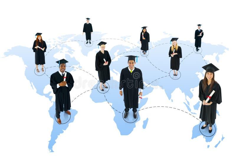 Concept social de la Communauté d'obtention du diplôme de réseau d'étudiant photos libres de droits
