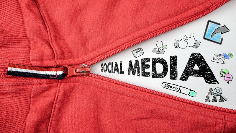 Concept social de media avec des ic?nes image libre de droits