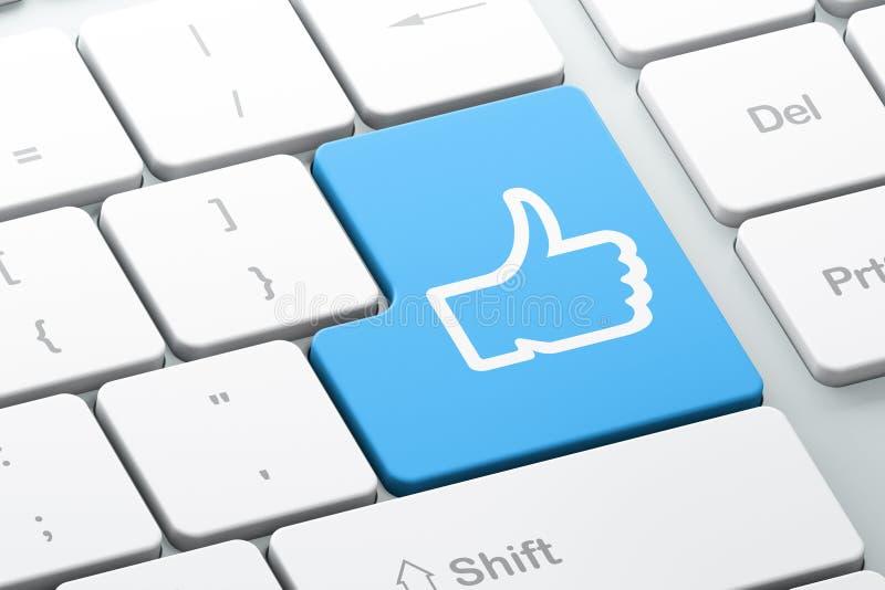 Concept social de media : Comme sur le fond de clavier d'ordinateur illustration libre de droits