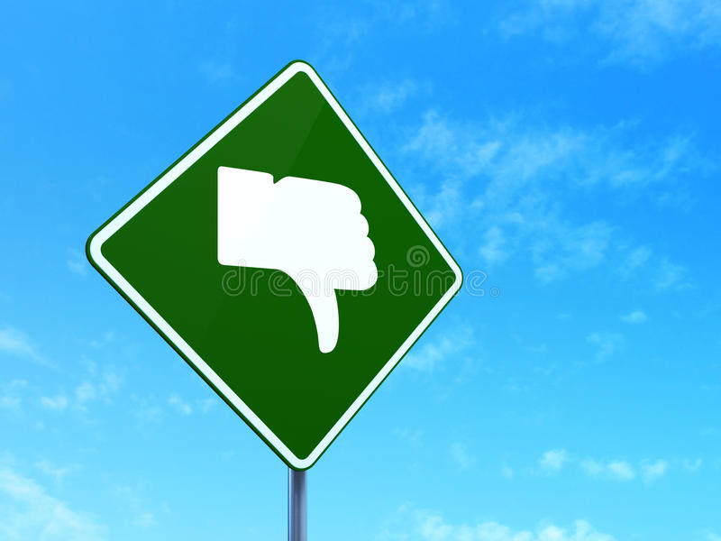 Concept social de media : Pouce vers le bas sur le panneau routier illustration libre de droits