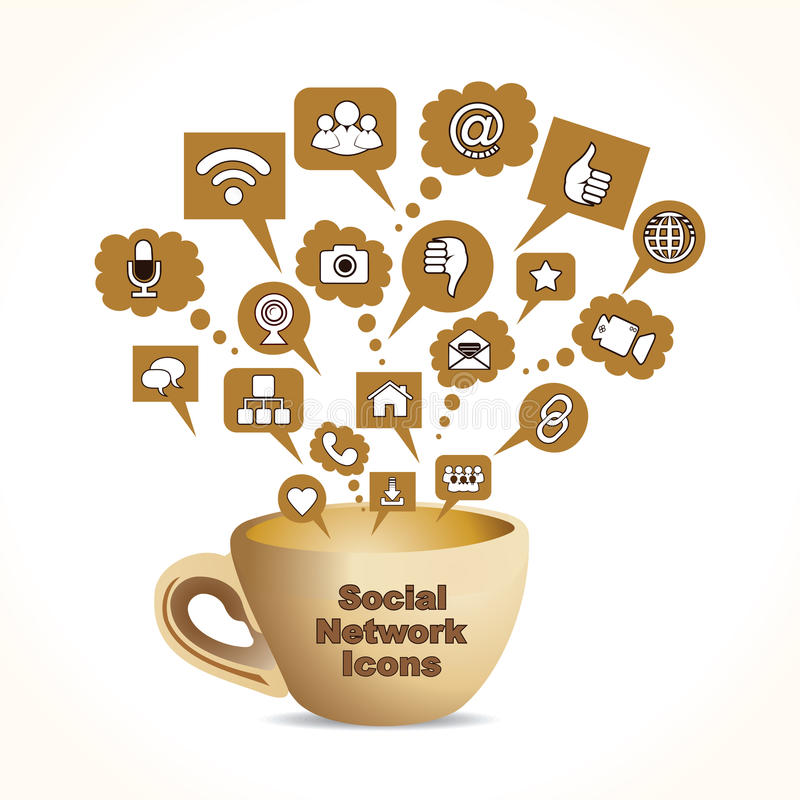 concept social de medias avec la barre de tasse de café   illustration stock
