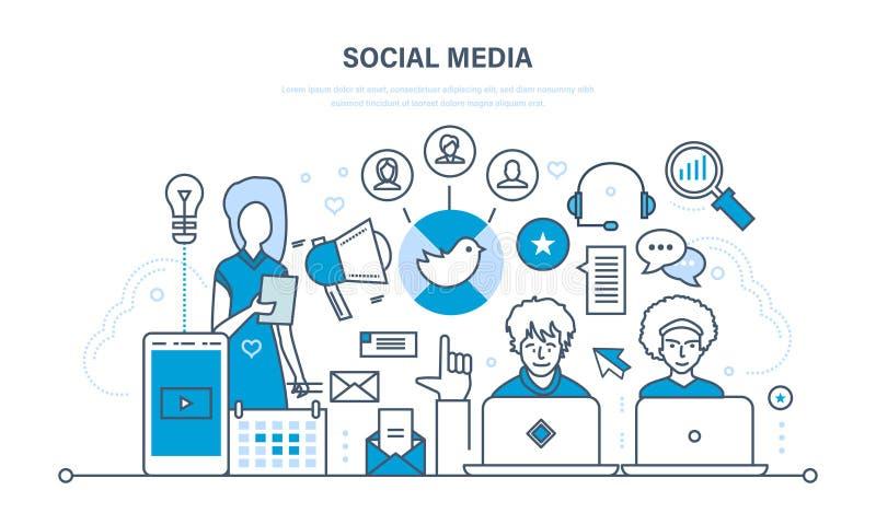 Concept social de medias Communications, entretien et appui, échange de l'information, technologie illustration libre de droits