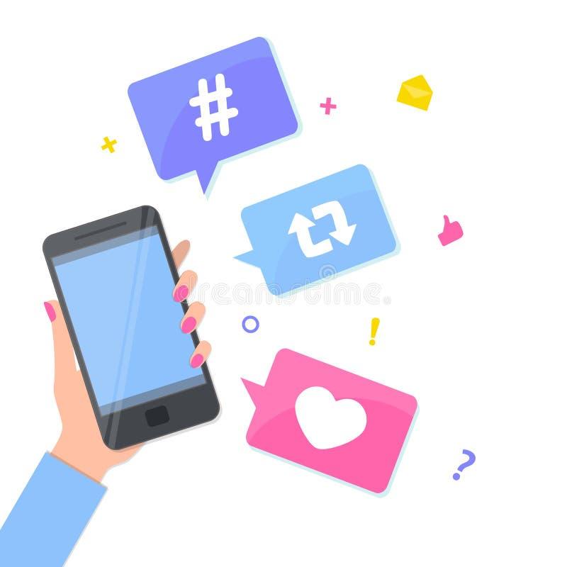 Concept social de medias Main avec le smartphone Vecteur moderne illustration de vecteur