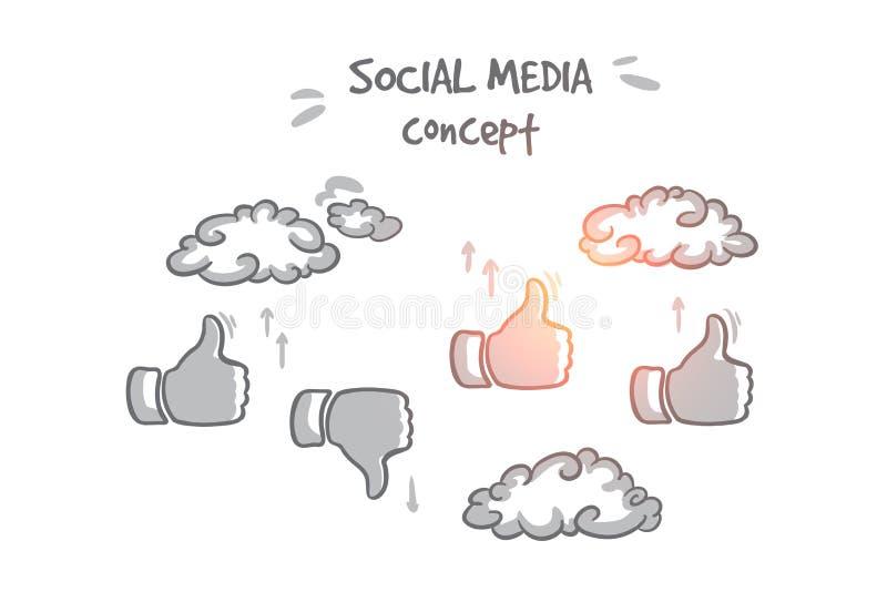 Concept social de medias Vecteur d'isolement tiré par la main illustration stock
