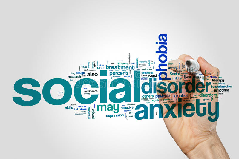 Concept social de nuage de mot de trouble d'anxiété image stock