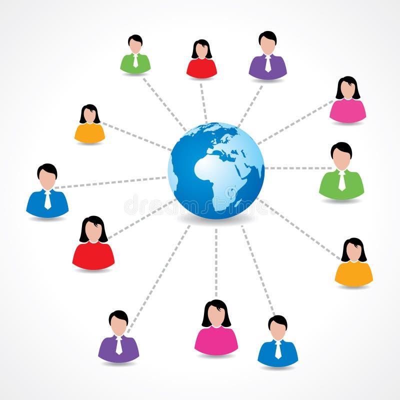 Concept social de réseau avec les icônes masculines et femelles autour de la terre illustration libre de droits