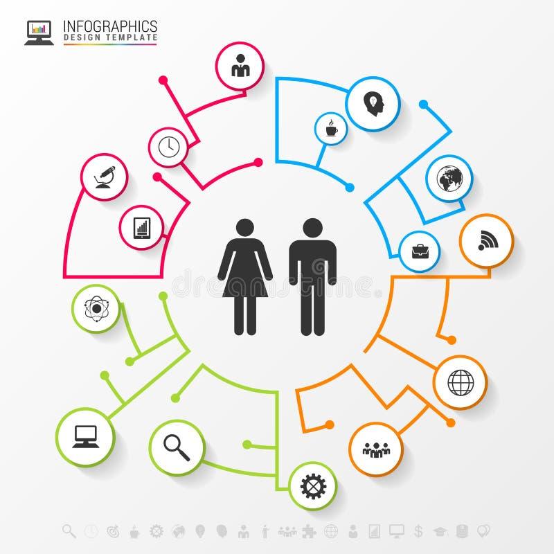Concept social de réseau d'Infographic Descripteur moderne d'affaires illustration libre de droits