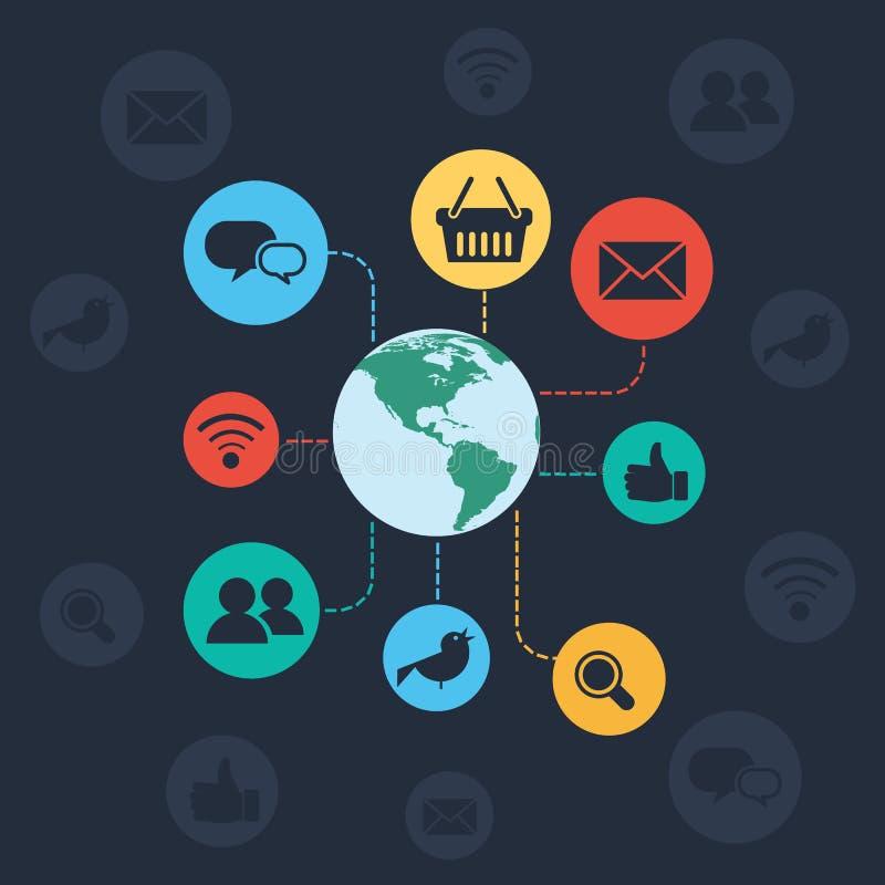 Concept social de réseau et de web browser illustration stock