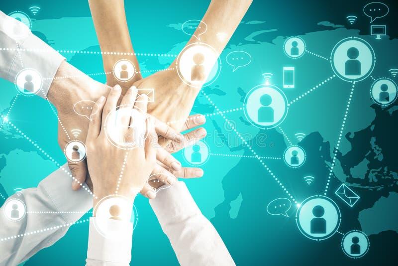 Concept social de réseau et de travail d'équipe photos stock