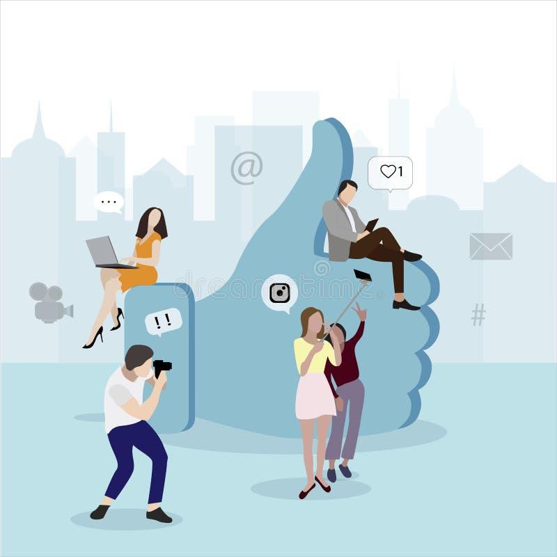 Concept social de réseau de media Symbole comme et les gens illustration stock