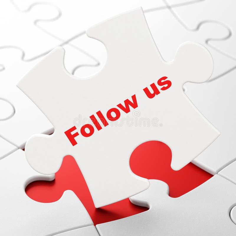 Concept social de réseau : Suivez-nous sur le fond de puzzle illustration de vecteur