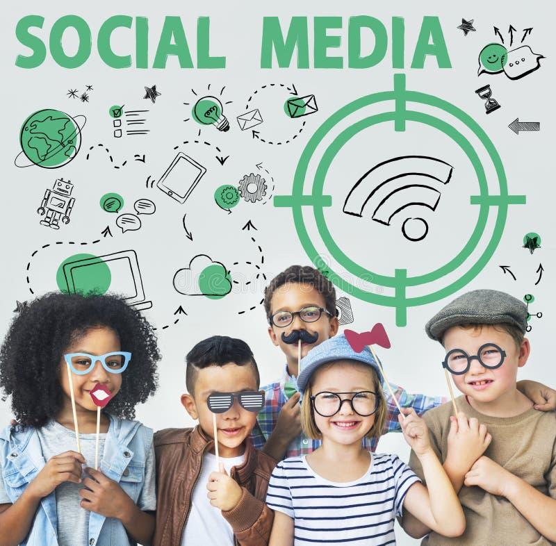 Concept social de signal de Word Wifi de media photos libres de droits