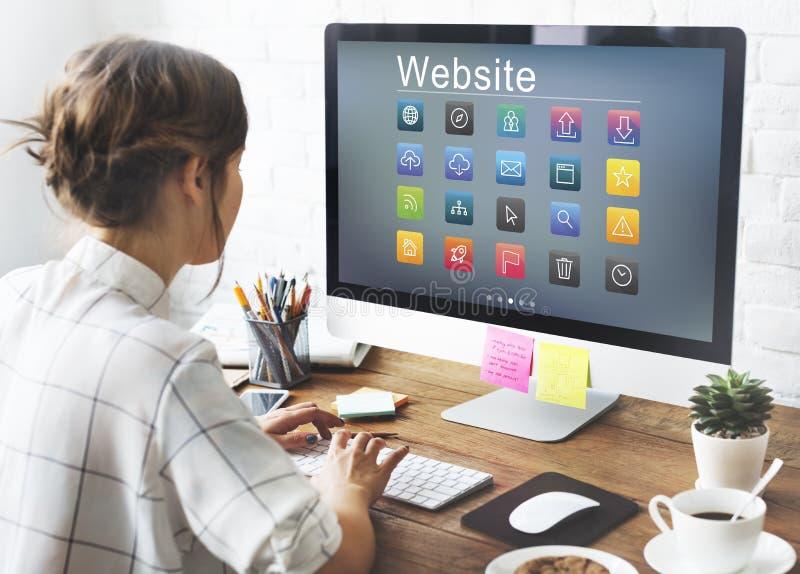 Concept social de symboles de site Web de media image stock