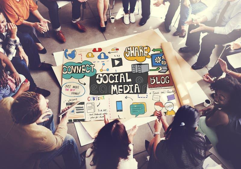 Concept social de télécommunication mondiale de technologie de media photos libres de droits
