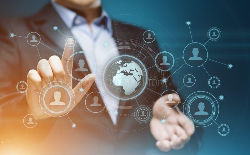 Concept social de technologie d'affaires d'Internet de réseau de Media Communication photographie stock