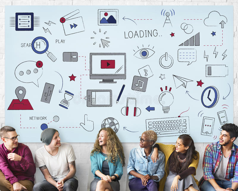 Concept social de technologie de réseau de connexion de Wifi d'Internet image libre de droits