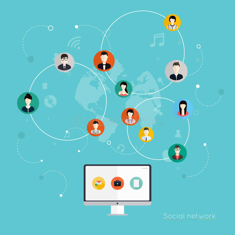 Concept social de vecteur de réseau illustration libre de droits