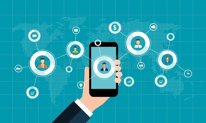 Concept social de vente de réseau et affaires numériques sur le concept mobile illustration de vecteur