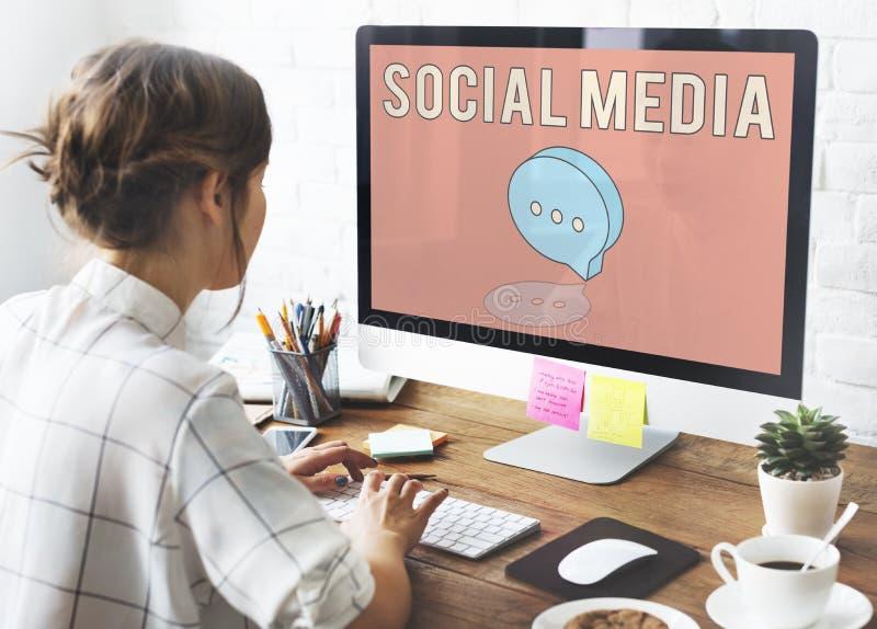 Concept social en ligne de réseau de blog photographie stock libre de droits