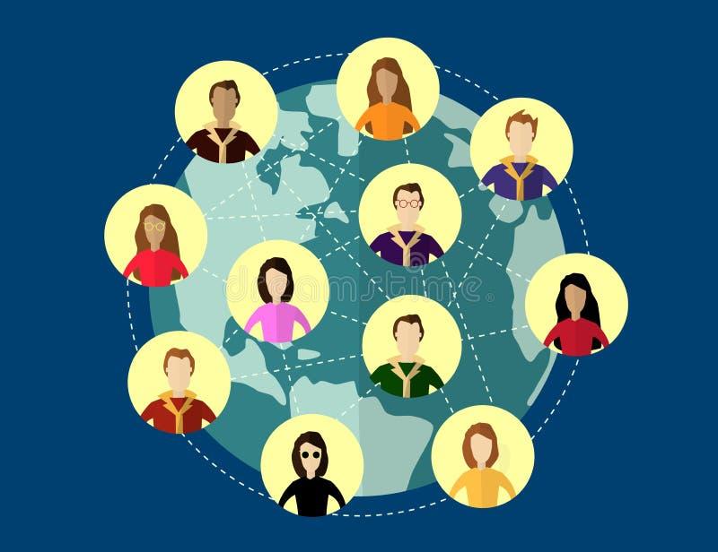 Concept social global de réseau Systèmes de communication et technologies illustration libre de droits
