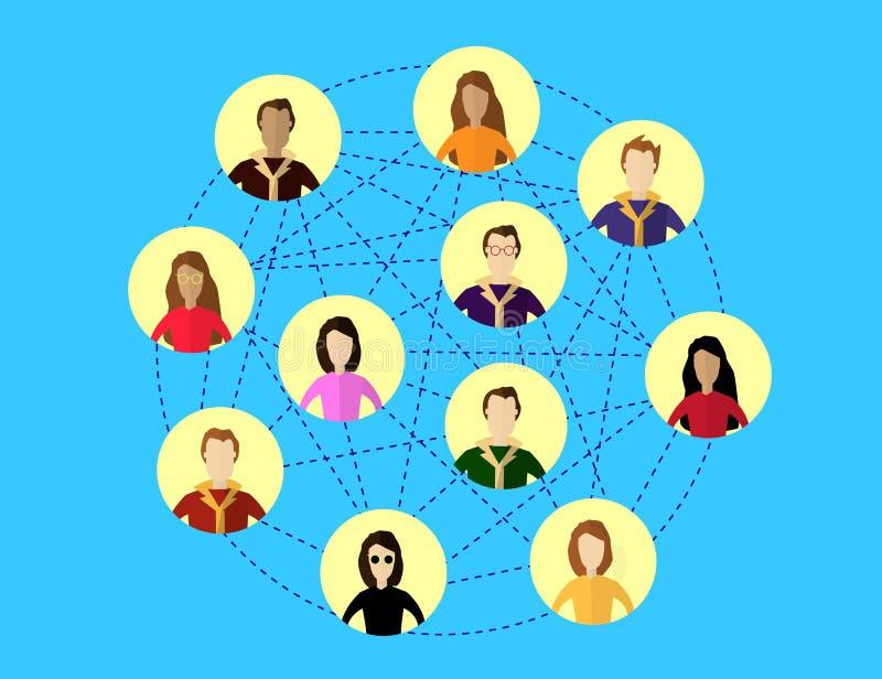 Concept social global de réseau Systèmes de communication et technologies illustration stock
