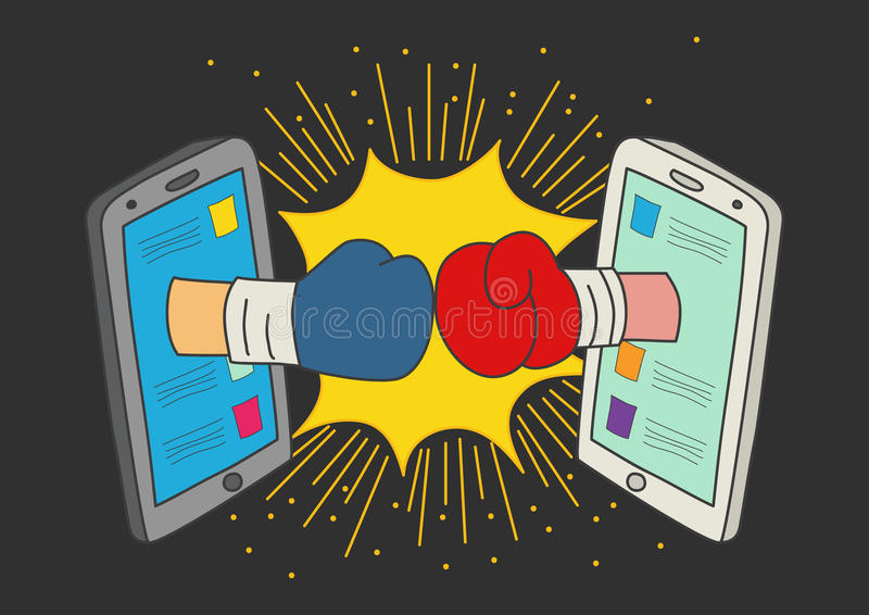 Concept for social media fight. Naive art or cartoon illustration of clashed two boxing gloves coming out from smart phone monitors, concept for social media vector illustration
