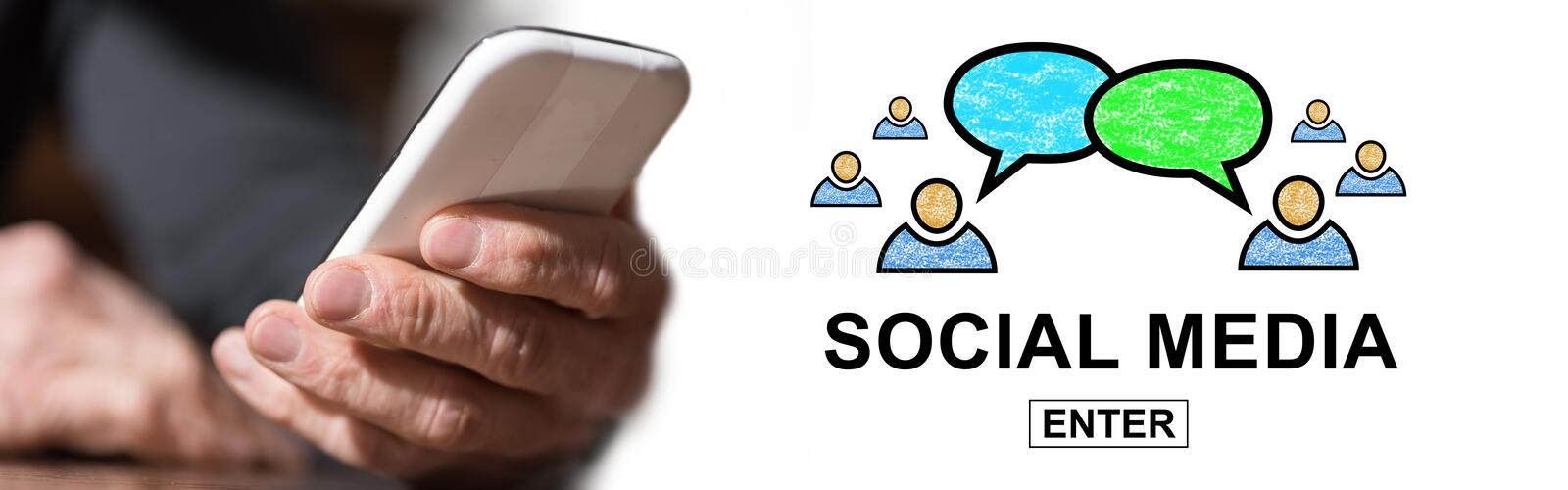 Concept of social media. Hand holding mobil phone with social media concept on background stock image